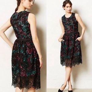 Anthro Wolven Terrace Floral Lace Midi Dress
